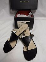 W/box Talbots Ladies Black Leather Faux Lizard Sandals Size 7.5m