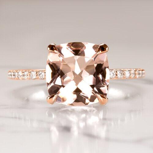 2.6c CUSHION PINK PEACH MORGANITE NATURAL DIAMOND ENGAGEMENT RING PAVE pink gold