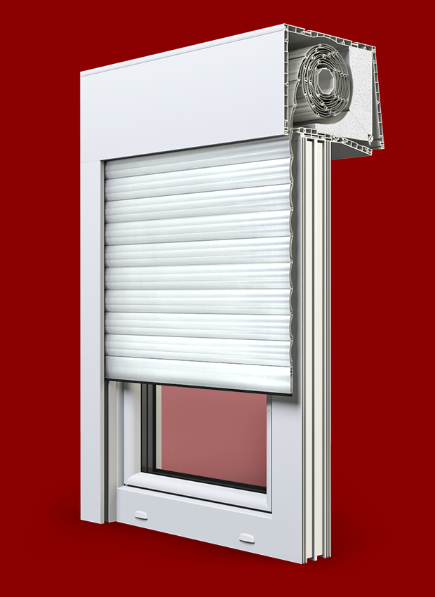 Balkontür mit Rollladen Kunststofffenster Weiß Dreh Kipp 2   3 fach verglast