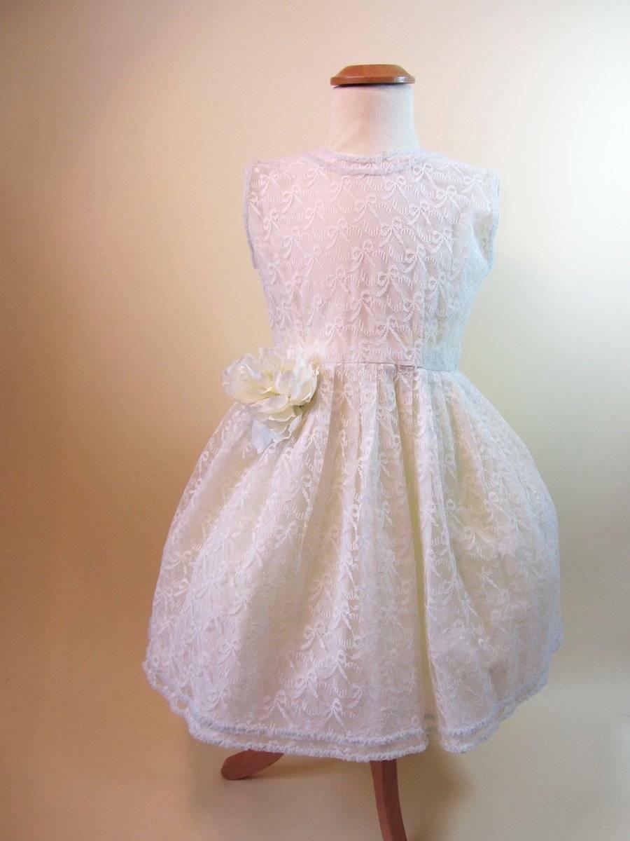 1950's little girls white lace dress first communiun confirmation vintage age 7-