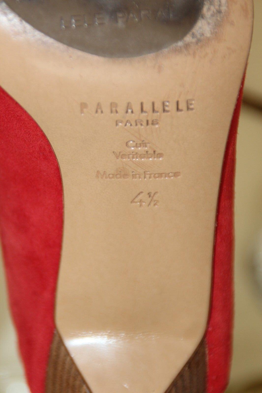 PARALLELE PARIS RED SUEDE SLINGBACK PUMPS PUMPS PUMPS EU 4.5 USA 6 SRP  350 GORGEOUS 2416df