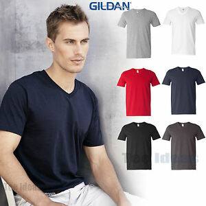 Gildan mens softstyle v neck t shirt vneck tee s m l xl for Gildan v neck t shirts for men