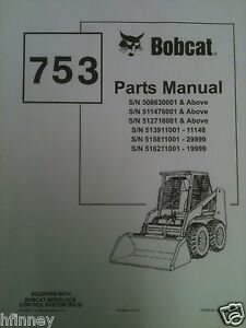 s l300 bobcat 753 753h skid steer loader parts manual book 6724067 early