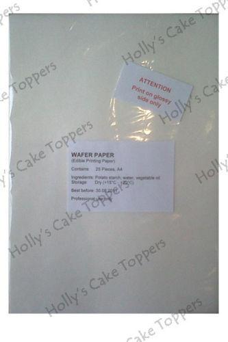 Wafer commestibile carta di riso Pack Pacchetto A4 25 FOGLI PER FOTO Commestibili Decorazioni