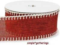 Deep Red Burlap Ribbon With Cream Blanket-stitched Edges 10 Yards By 2 1/2