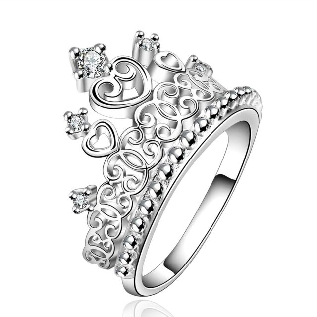 New Crown Fashion Jewelry Women Ring Zircon Silver Plated Size 7 8