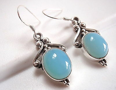 Accented Chalcedony Earrings 925 Sterling Silver Ethnic Tribal Style Dangle