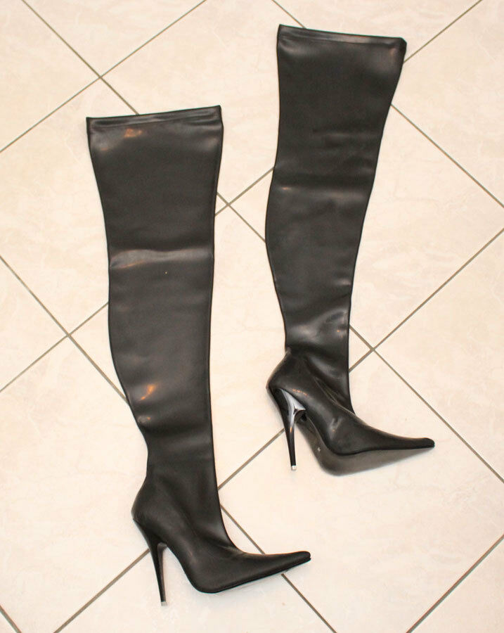 Latex Stiefel Gr. 36 Overknees High Heels Heels Heels Stilettoabsatz schwarz innen Textil a571f5