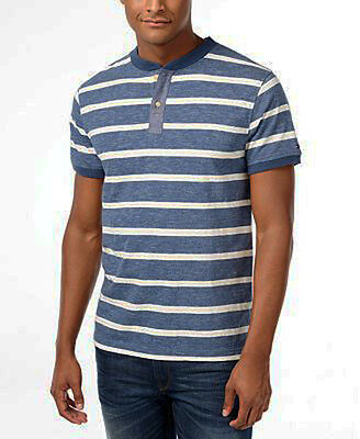 Tommy Hilfiger Mens Chester Stripe Short-Sleeve Shirt Bayhead Blue Mens Medium