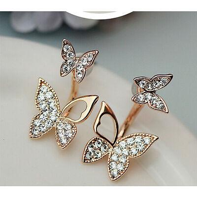 NiX 1235 Gold Plated Butterfly Double Earrings Gift Women Girl Hanging Earrings