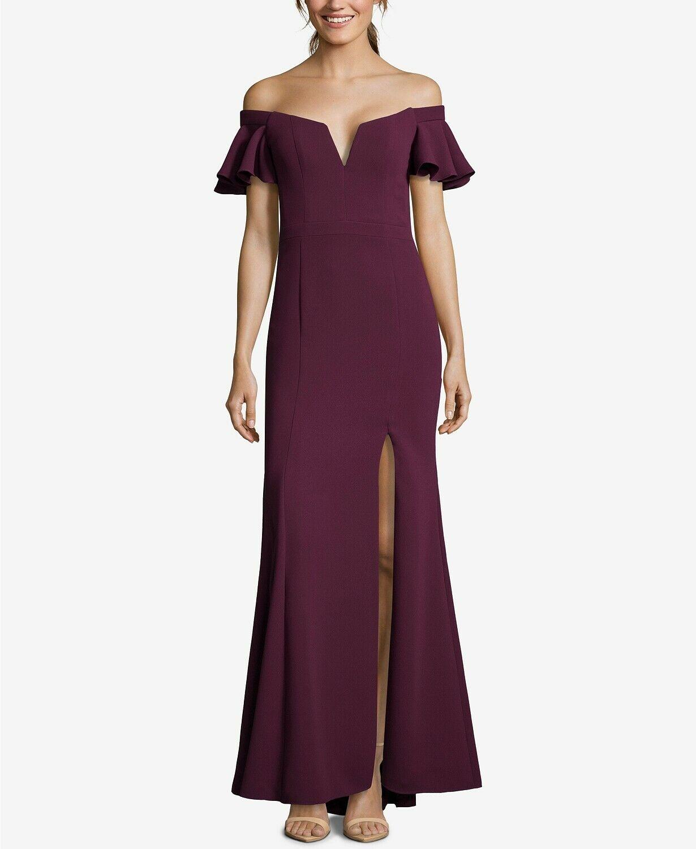 XSCAPE damen lila OFF SHOULDER FLUTTER SLEEVE SLIT FORMAL DRESS Größe 14
