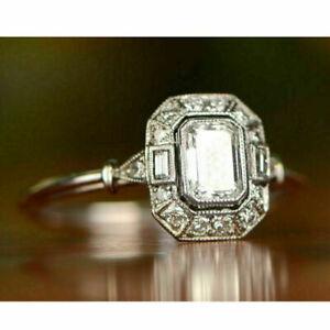 Antique-Art-Deco-1-25-Ct-Emerald-Diamond-Halo-Wedding-Ring-14k-White-Gold-Over