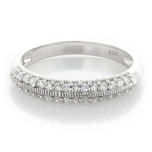 Sterling Silver Milgrain Edge Cubic Zirconia Band Ring