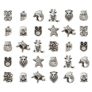 100g Random Tibetan Alloy European Beads Large Hole Silver Loose Charms 8~16mm