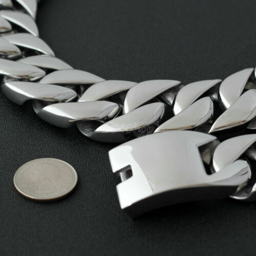 """28/"""" 2lbs Super Heavy Curb Cuban Link Mens Chain Silver Stainless Steel Necklace"""