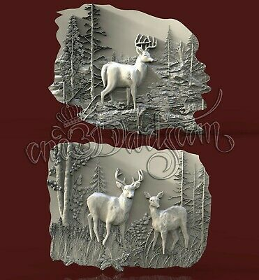 2 3D STL Model Hunting Deer Panel CNC Router Carving Machine Artcam aspire Cut3D