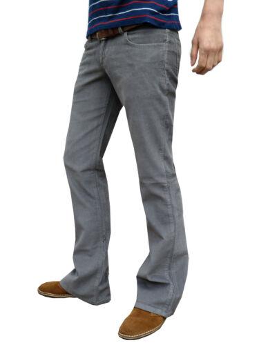 Da Uomo Grigio Jeans Bootcut In Velluto A Coste Vintage Retro razzi MOD ANNI/'70 60 S Pantaloni Indie