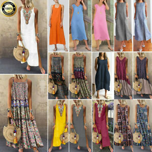 Plus-Size-Women-Boho-Cotton-Linen-Sleeveless-V-neck-Baggy-Kaftan-Long-Maxi-Dress