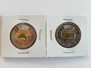CANADA-2019-75th-D-Day-COLOURED-NO-COLOUR-UNC-2-TOONIE-COINS