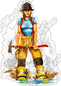 """Female Firefighter Girl Fire Department Car Bumper Vinyl Sticker Decal 3.5/""""X5/"""""""