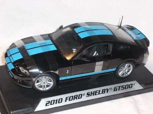Ford Shelby Gt500 Gt-500 Mustang 2010 Schwarz Blaue Streifen 1//18 Shelby Collect