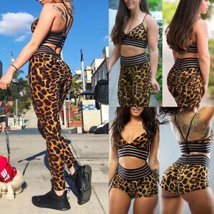 Women Yoga Leopard Shorts Tops Bra Cropped Tracksuit Pants Fitness Suit Sports