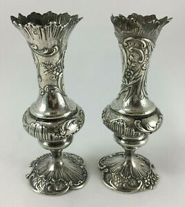 Set-of-2-Vases-Silver-XIX-Decoration-Louis-XV-Punch-Decorated-Shell-C429