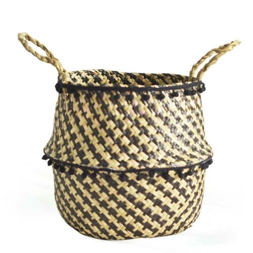 Storage Basket Rattan Straw Wicker Folding Laundry Flower Pot Seagrasss Plants