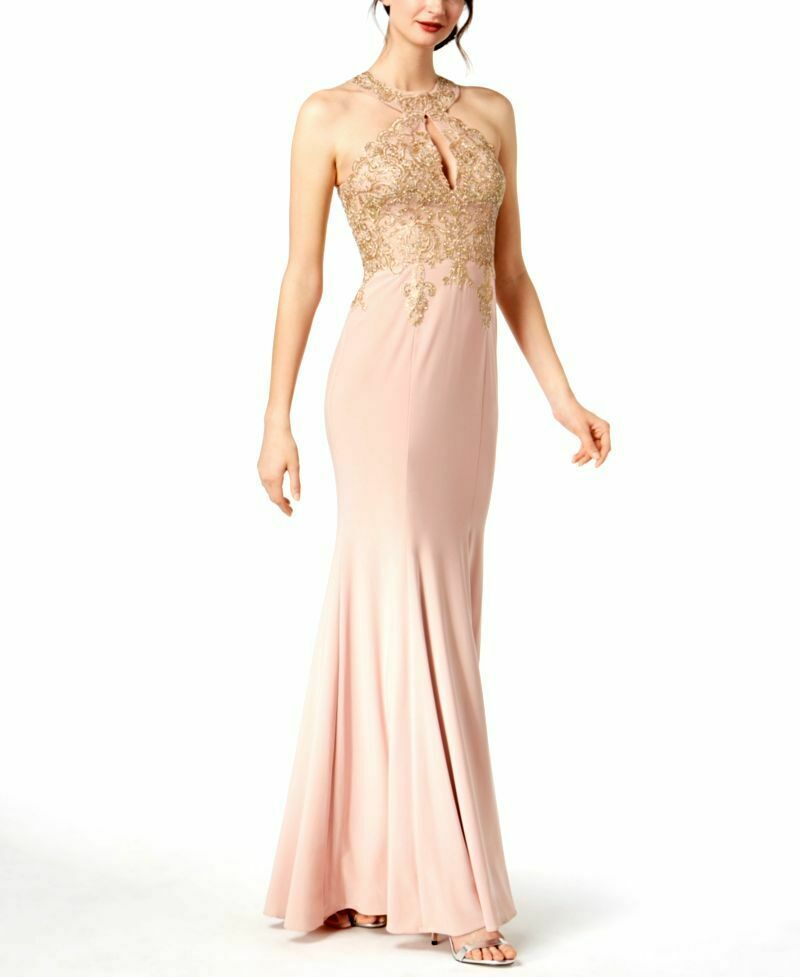 382 XSCAPE WOMEN'S PINK gold EMBROIDERED MESH HALTER EVENING GOWN DRESS SIZE 4