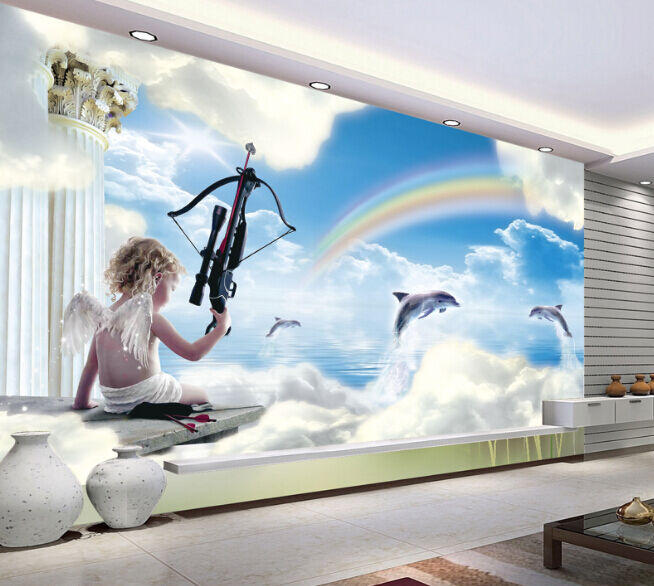 3D Angel Cloud Rainbow Paper Wall Print Decal Wall Wall Murals AJ WALLPAPER GB