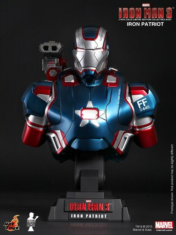 HOT TOYS HTB12 Iron Man 3 Iron Patriot 1 4 LED Busto En Stock