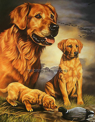 Golden Retriever TIN SIGN metal poster art print duck hunting cabin wall decor