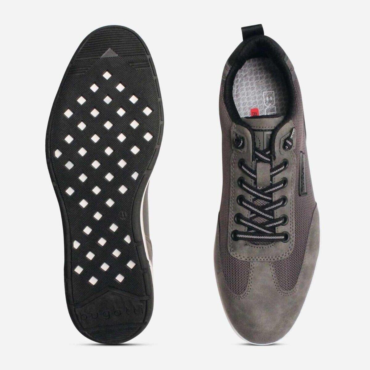 Bugatti Grey Suede Mens Designer Sneaker Shoes