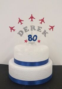 Image Is Loading Aeroplane Personalised Birthday Celebration Cake Topper Red Arrows