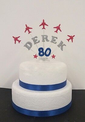Marvelous Aeroplane Personalised Birthday Celebration Cake Topper Red Funny Birthday Cards Online Alyptdamsfinfo