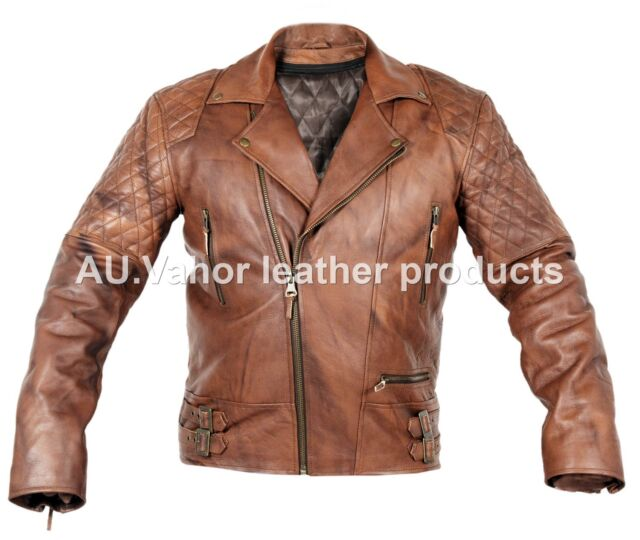 0c44a12bca4 Vintage Classic Diamond Motorcycle Biker Brown Distressed Cow Leather Jacket