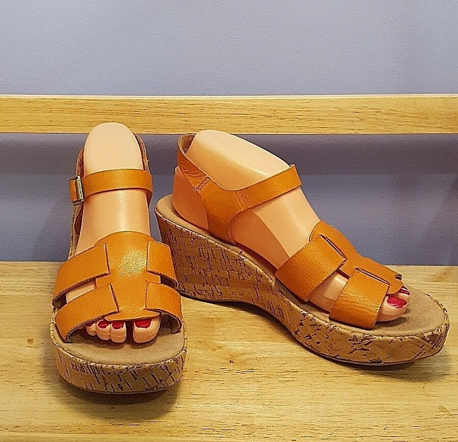 KORKS Kork-ease Women's Size 9 - 40.5 orange Leather Wedge Sandals With Tan Cork