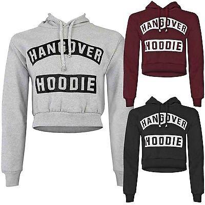 New Ladies Hangover Hoodie Crop Sweatshirt Womens Hooded Top Cropped Tops Look