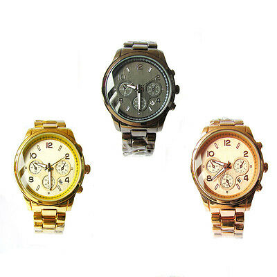 Luxury Lady Women Men Shiny Stainless Steel Quartz Wrist Watch With Date Gift