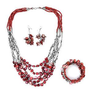 Stainless-Steel-Seed-Bead-Drop-Earrings-Wrap-Bracelet-Multi-Strand-Necklace-Set