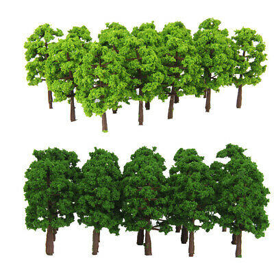 40pcs Plastikmodell-Baum-Zug-Eisenbahn-Landschaft 1 250 hellgrünes Z-Skala