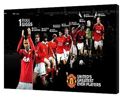 MANCHESTER UNITED GREATEST EVER PLAYERS PHOTO PRINT ON FRAMED CANVAS WALL ART