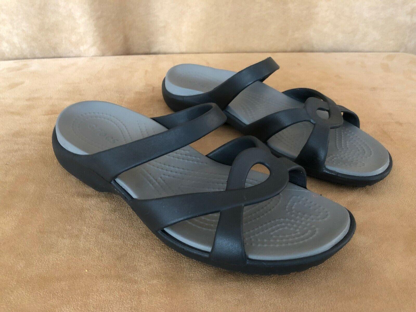 10 womens Authentic Crocs shoes flat sandals slip on black