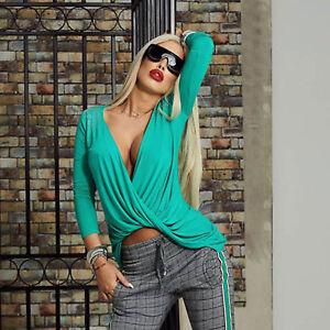 By-Alina-Damentop-Vokuhila-Bluse-Longshirt-Tunika-Longsleve-Gruen-XS-M