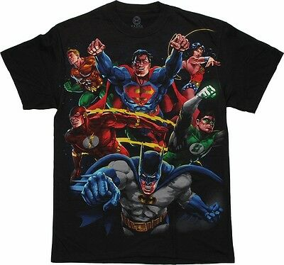 DC COMICS HEROES (BATMAN/ SUPERMAN) VS EVIL (THE JOKER/ RIDDLER) T-SHIRT  *NEW*