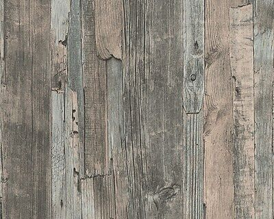 REALISTIC TEXTURED OLD WOOD PANEL WALL FEATURE WALLPAPER A.S.CREATION 95405-2