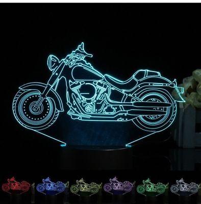 HARLEY DAVIDSON ROADBIKE 3D Acrylic LED 7 Colour Night Light Touch Table Lamp