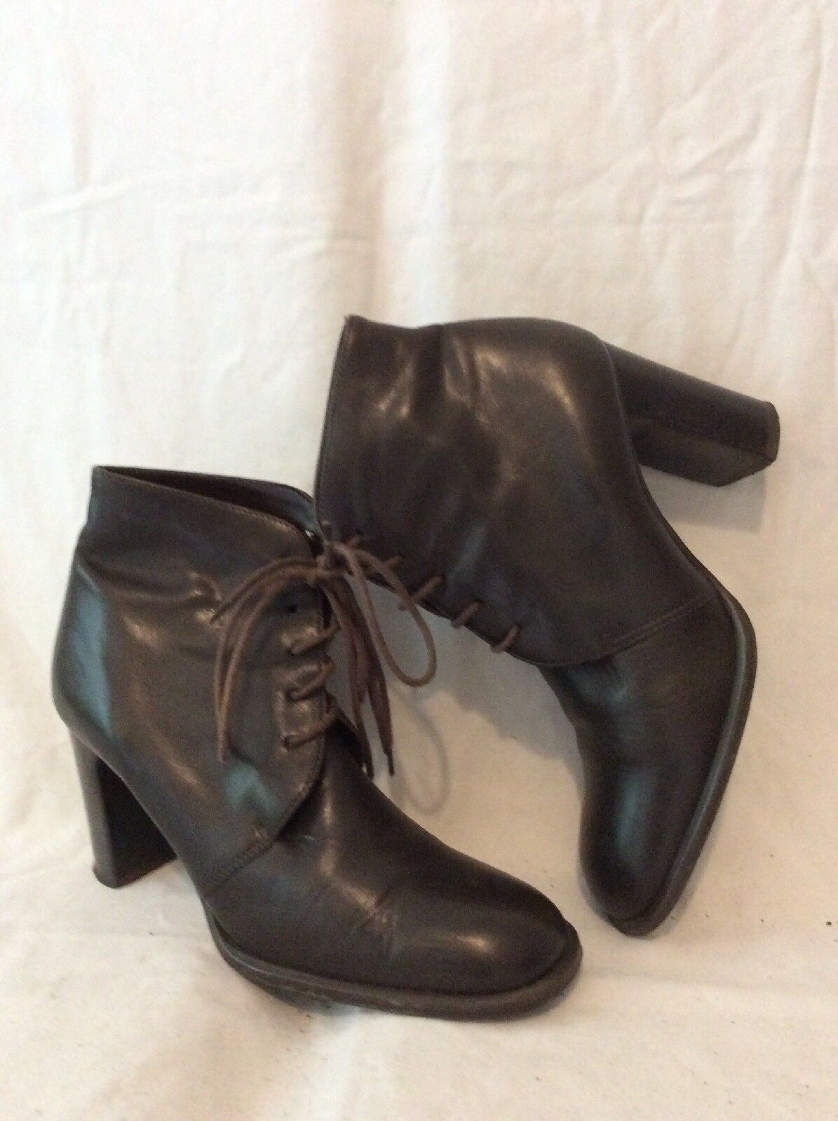 Wallis Brown Ankle Leather Boots Size 38