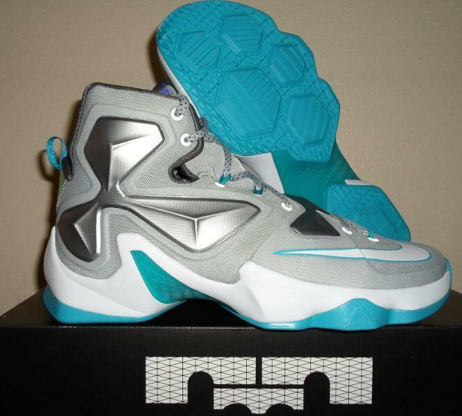 9ec47b9c4cc NEW NIKE LEBRON JAMES 13 XIII 15 GREY blueE LAGOON WHITE NBA BASKETBALL  SHOES 10