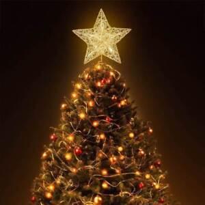 Image Is Loading Led Light Up Tree Topper Gold Glitter Star
